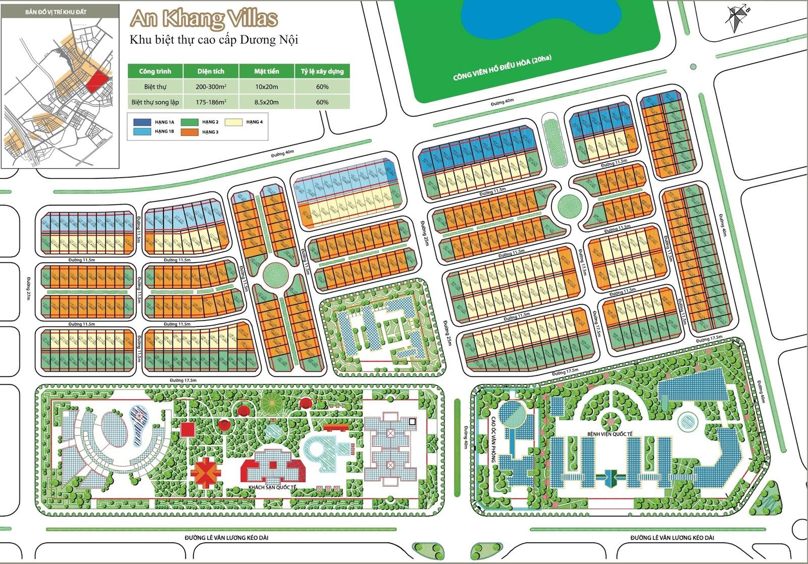 Sơ đồ phân lô biệt thự An Khang Villa Dương Nội